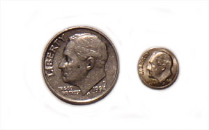 Mini Coins-Dime Pieces 6 each