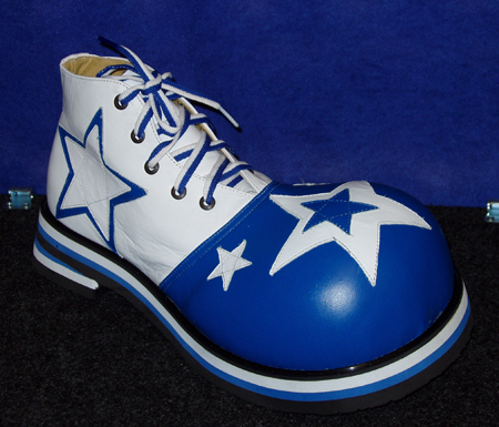 ShoeBees Bubble Toe Clown Shoes Blue & White w/stars