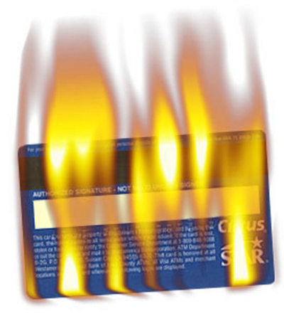 Flaming Credit Card by Peter Austin